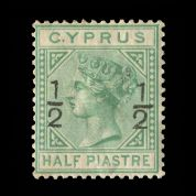 TUT1858 - Cyprus - ½ on ½pi. Emerald-green wmk CC type 8. CLICK FOR FULL DESCRIPTION